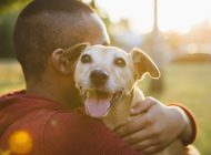 rear view of a young man hug his small Mixed-breed dog, dog looking at camera